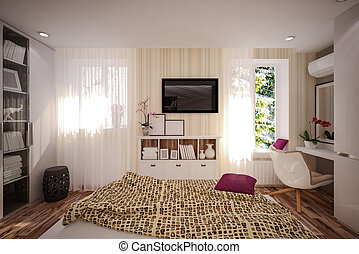 Interior Bedroom in modern style. Interior design