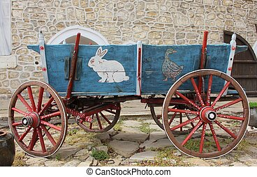 Colorful waggon - Colourful waggon with drawings in front of...