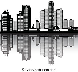 american city detroit skyline - detroit american city...