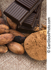 Cocoa cacao beans with chocolate