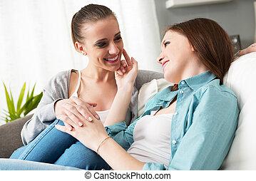 lesbienne, couple, flirter, maison