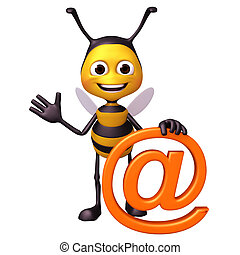 bee with at mark symbol - 3d render illustration bee...