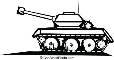 Tank - Woodcut style image of a military tank.