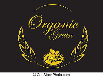 grain organic with black background. concept vector...