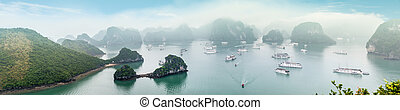 Scenic top view of Halong Bay in Vietnam. - Panorama of...