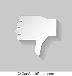 Thumbs down sign in paper style on grey background
