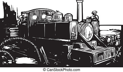 WWI Train - Woodcut style World War one style light rail...