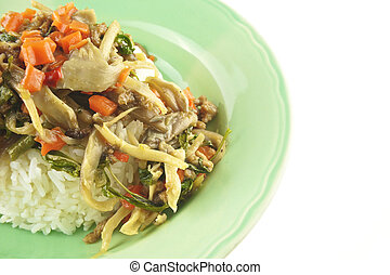 ostra, cogumelo, fritado, arroz, vegetariano, isolado