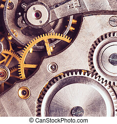 Clockwork Background - Clockwork Background. Close-up Of Old...