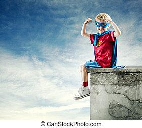 súper, héroe, niño, levantado,...