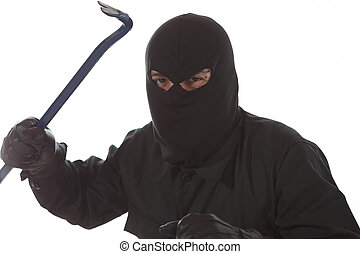 Thief with a kickstand - Thief with a crowbar in hand and...