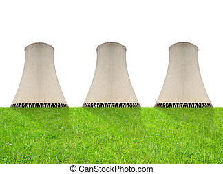 Nuclear power plant on white background