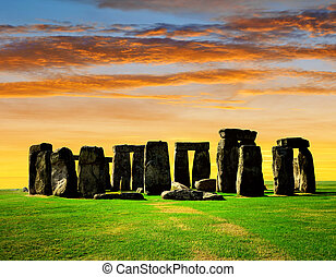 Stonehenge - Historical monument Stonehenge in the sunset,...