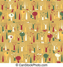 Wood Animals tapestry seamless pattern in vintage colors is...