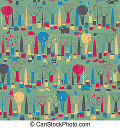 Wood Animals tapestry seamless pattern in magic colors is...