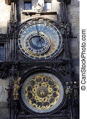 World clock in Prague - Close-up of the world clock in...