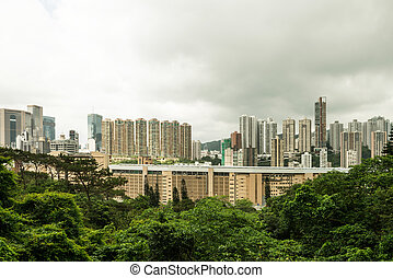 hongkong - Hong Kong harbour at day