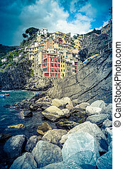 Town In Italian Riviera - Retro Filtered Photo Of...