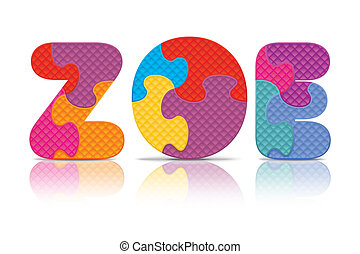 Vector ZOE written with puzzle - ZOE written with alphabet...