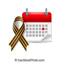 Victory Day icon - Calendar and St. George Ribbon as Victory...