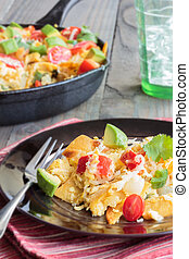 Tex-Mex Migas - Tex-Mex breakfast migas made of eggs...