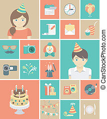 Kids Birthday Party Icons