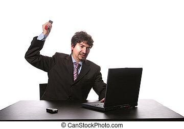 Fustrated businessman in his office