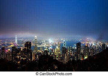 hongkong - Hong Kong island from Victoria's Peak at night