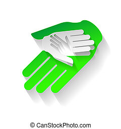 Paper hands - Composition of three hands in paper style Eco...