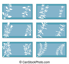 Banners With Aromatic Herbs - Set of six banners with white...