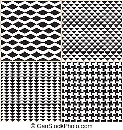 Black And White Patterns - Set of 4 seamless patterns Black...