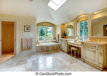Luxury bathroom with antique vanity and cabinets - Spacious...