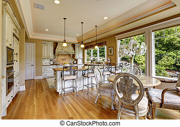 Luxury kitchen room with dining table