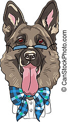 vetorial, ENGRAÇADO, caricatura, hipster, cão,...