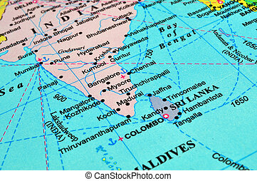 Sri Lanka and India map - Map of South Asia: Sri Lanka and...