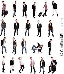 jovem, homem, posar, diferente, posições