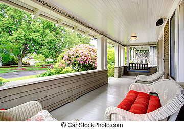 Entrance column porch with swing - Column porch with wicker...