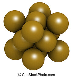 Gold (Au) metal, crystal structure.