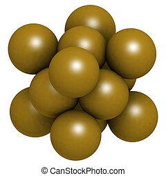 goud, (Au), metaal, kristal, structuur