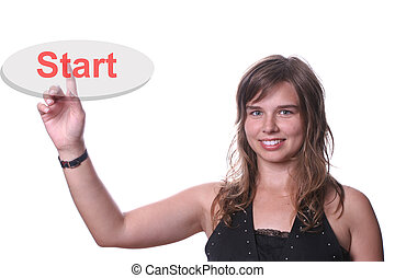 Young beautiful woman pressing the start key, isolated on...