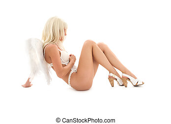 white lingerie angel girl on high heels