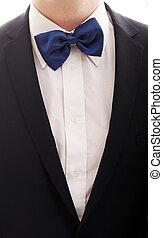 Gentleman in tuxedo and blue bow tie