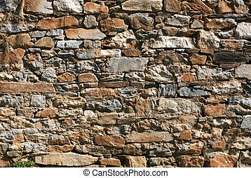 Rubble Rock Wall - Rubble rock wall background, with quartz...