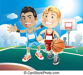 Kids playing basketball on outdoor. - Kids playing...
