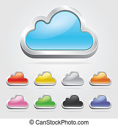 Cloud technology icons set. Vector illustration