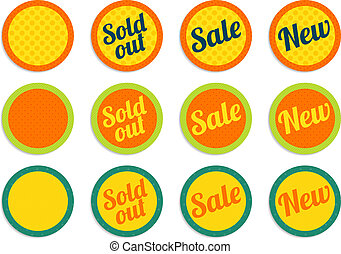E-shop offer buttons - 4 sets of isolated tags for sold out,...