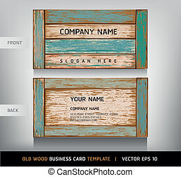Old Wooden Texture Business Card Background vector...