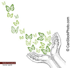 Drawing Hands releasing butterfly.