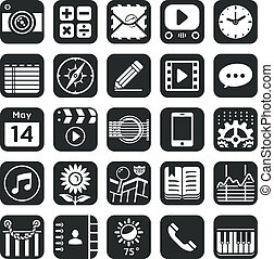 Application icons for smartphone and web.