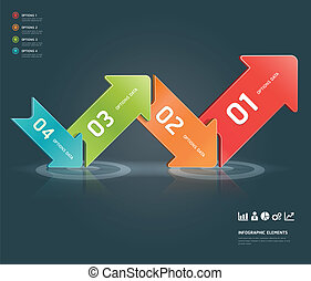 Colorful arrow number infographic. - Colorful arrow number...